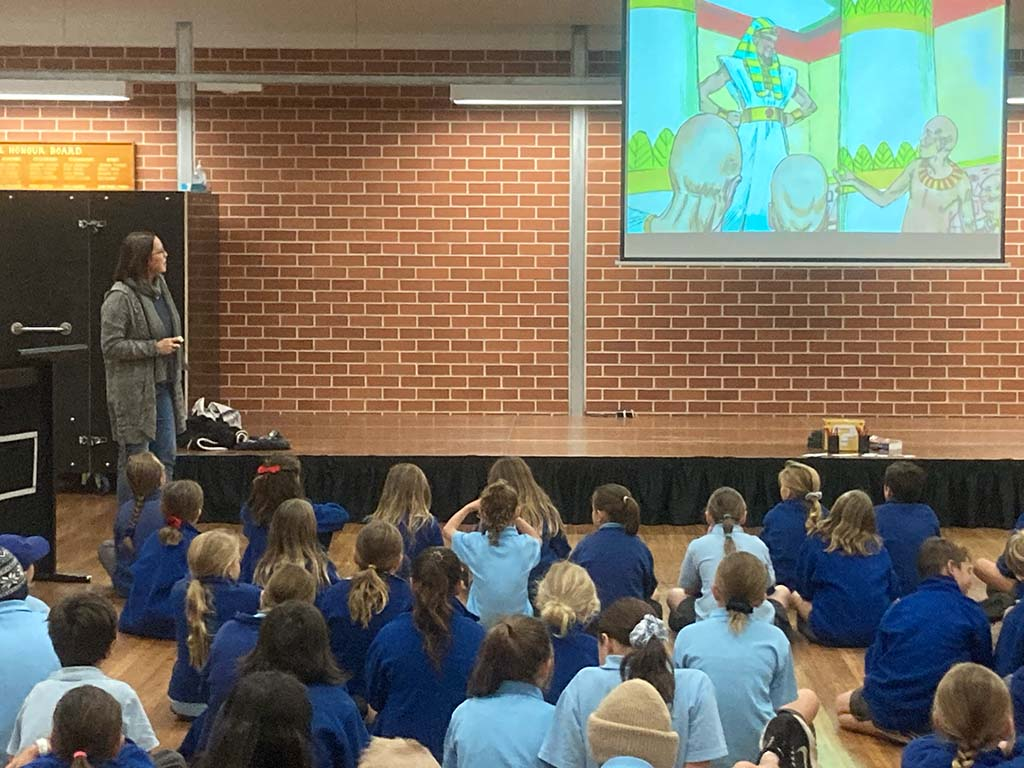 SRE Teacher at Woonona running an assembly-style lesson